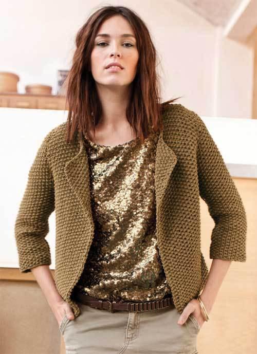 Modele manteau femme au tricot