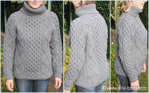 Pull irlandais femme modèle tricoté en Pur Mérinos Français de Bergère de