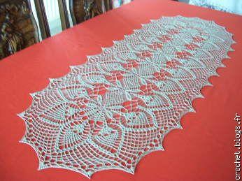 Patron crochet gratuit chemin de table for Chemin de table crochet